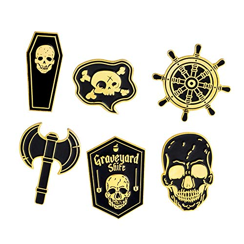 Skull Women Brooches Collar Lapel Pins Set Enamel Button Badge Black Totem Bound for Jacket Shirt (Graveyard)