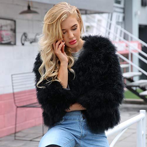 Unie Chaud Manteau Avec À Épais Veste Manches Fourrure Longues Noir Hiver Couleur Des Poches Femmes Outwear En Yyf Fausse qxtOff