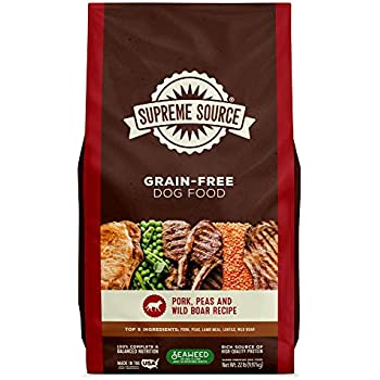 Supreme Source Premium Dry Dog Food Grain Free, USDA Organic Seaweed, Protein, Pork Peas & Wild Boar Recipe for All Life Stages. Made in The USA. (22lb)