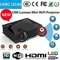 Unic UC46 Portable 1080P HD WiFi Projector with HDMI VGA AVI and inbuilt Speaker