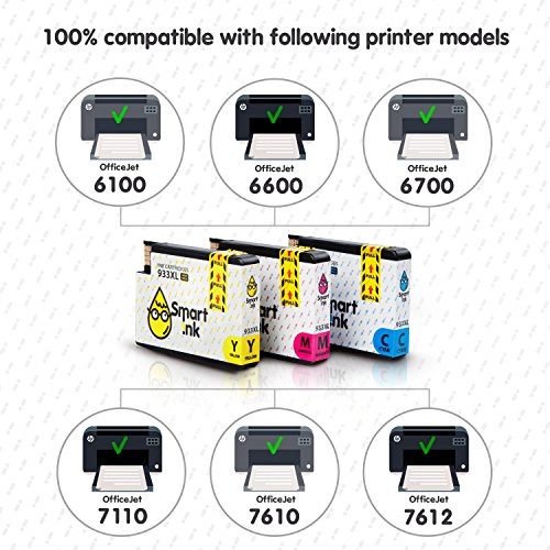 Smart Ink Compatible Ink Cartridge Replacement for HP 932 XL 933 XL 932XL 933XL High Yield 3 Pack (C/M/Y Colors) Ink Cartridges High Capacity for HP Officejet 6600 6100 6700 7110 7610 7612 Printers Photo #3