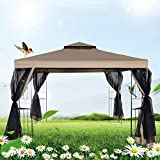 Cheap FurniTure Outdoor Gazebo 10′ x 10′ Gazebo Vented Garden Party Gazebo with Mosquito Netting Double Roof Polyester Fabric Garden Metal Gazebo with Netting Canopy Tent, Sand