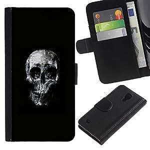 KLONGSHOP // Tirón de la caja Cartera de cuero con ranuras para tarjetas - Cráneo fresco - Samsung Galaxy S4 IV I9500 //