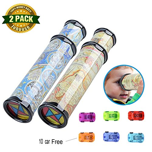 Kids Toy, Magic Kaleidoscope Gift & Mini Pull Back and Go Fast Racing Car for Party Favor Thanksgiving Day Christmas Gift, 2 PCS