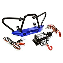 Integy RC Model Hop-ups C26434BLUE Billet Machined Realistic Front Bumper Set w/ LED & Winch for Axial 1/10 Wraith