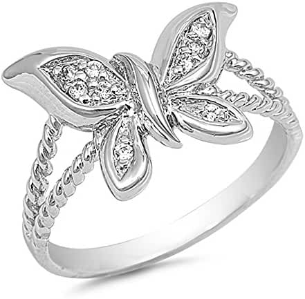 Cubic Zirconia Butterfly Ring Sterling Silver