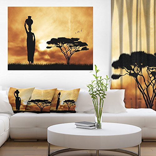 Landscape Design Trees - African Woman and Lonely Tree African Landscape Canvas Art Print