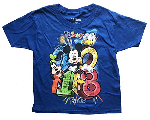 Disney Mickey Mouse Donald Duck Goofy Pluto Youth Unisex T Shirt 2018 Stacked Group Tee (X-Small, Royal) ()