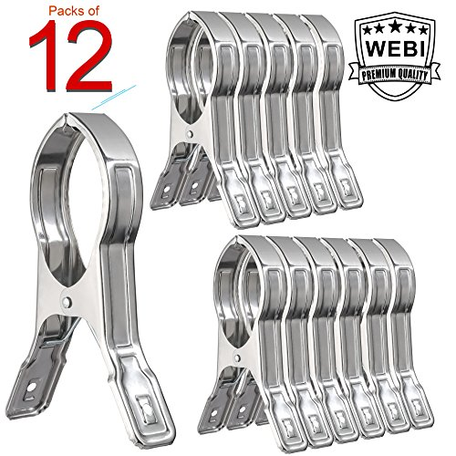 12 Packs, WEBI Heavy Duty Stainless Steel Boca Clips Clothin
