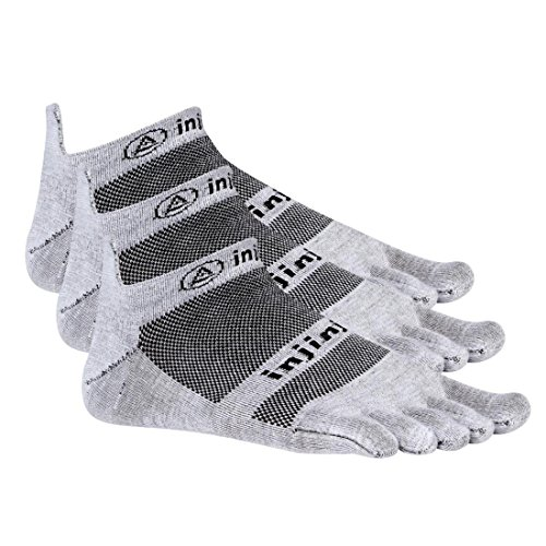 Injinji Run 2.0 Lightweight No Show Toe Socks 3 Pack (Gray, Medium)