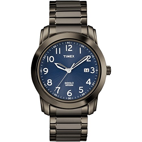 Timex Men's TW2R63700 Highland Street Gray/Blue Stainless Steel Expansion Band - Band Blue Dial Expansion