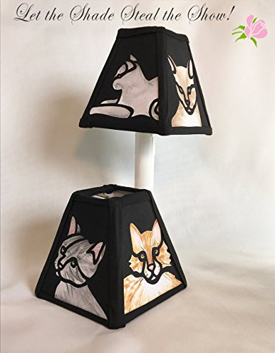 Feline Friends hand-painted fabric lampshade that simulates stained (Cottage Stained Glass Chandelier)