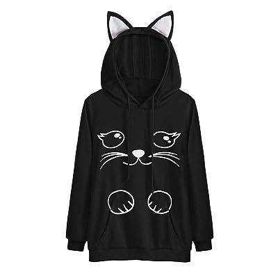 9ba7660b168aa 2017 Mode Automne Hiver À Capuche Femmes Imprimer Cat À Manches Longues À Capuche  Sweat À