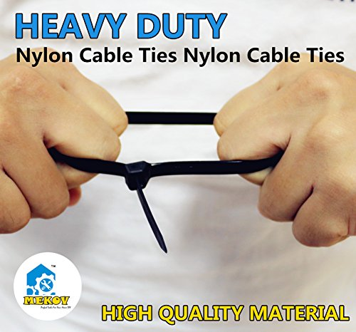 Nylon Cable Ties, Mekov, 15 Inch Heavy Duty Cable Ties, 120-LB Tensile Strength, Zip Ties with 0.3 Inch Width, Durable, Indoor & Outdoor use, UV Resistant (15'', 100 Pack, White) by Mekov (Image #3)