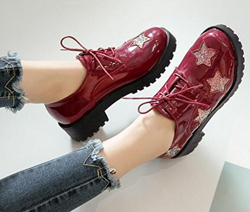 IDIFU Womens Casual Stars Mid Chunky Heels Lace Up Sneakers Red ZVd5AX2