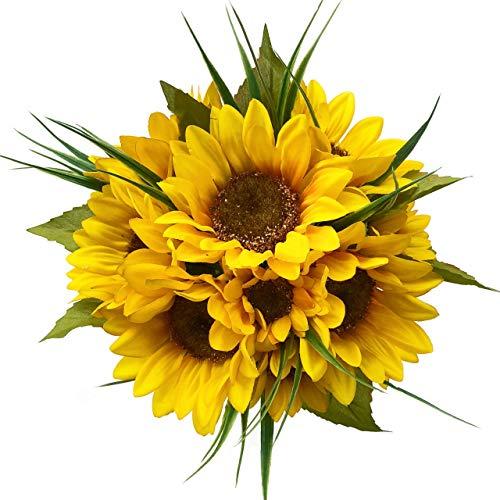 (Custom Sunflower Artificial Flowers Bridal Bouquet | Wedding Flowers | Wedding Bouquets - Choose from 10 Ribbon Colors (10 stem Bouquet))