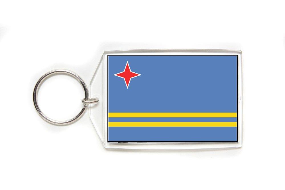 Aruba Aruban Flag Double Sided Acrylic Key Ring Large