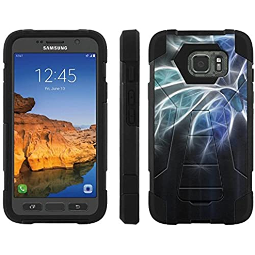 AT&T [Galaxy S7 Active] ShockProof Case [ArmorXtreme] [Black/Black] Hybrid Defender [Kickstand] - [Blue Butterfly Blossom] for Samsung Galaxy Sales