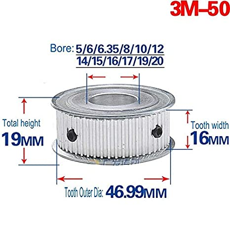 3M30T Synchronous Wheel Timing Belt Pulley Gear Bore 5-16mm For 15mm Width Belt