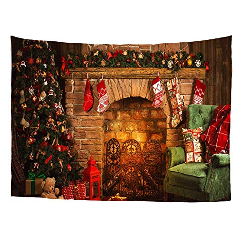Bigcardesigns Merry Christmas Decor Tapestry Fireplace Wall Hanging for Home Dorm Decoration Size 51