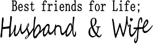 """BIBITIME Saying Best Friends for Life Husband and Wife Quotes Wall Decal English Words Lettering Decor Sticker for Couple Bedroom,DIY 22.44"""" x 6.69"""""""