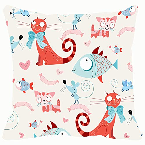 funny dog Throw Pillow Covers 18x18,Seamless Pattern Cats Fish mice Backgrounds Textures Wallpaper Backgrounds Textures Illustrations Clip Art Wallpaper Illustrations Clip Art -
