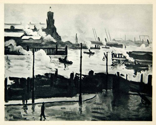 1948 Photogravure Albert Marquet Art Hambourg Germany City Elbe River Steamships - Original Photogravure
