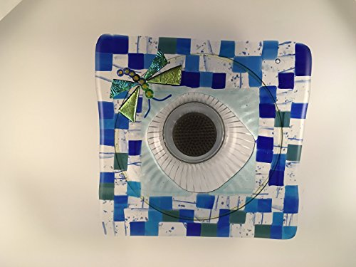 Mosaic blue, green and clear with a dichroic green dragonfly fused glass Ikebana vase (Mosaic Dichroic Glass)