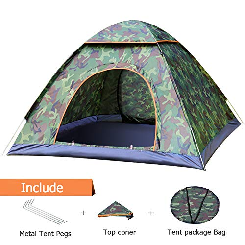 Pop Up Tent Beach Tent, 2-3 Person Camping Tent Camouflage Dome Tent Family Camping Tents Sun Shelter 4 season Portable Automatic Pop Up Waterproof Tent with Carry Bag for Backpacking Travel (Camo)