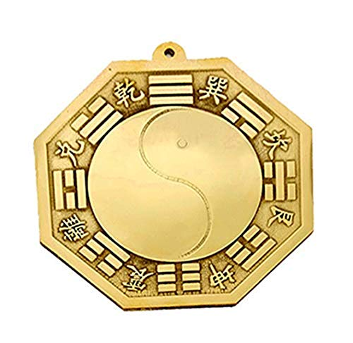 xiulin Fengshui Copper Taiji Yin Yang Bagua Mirror Convex Mirror Brass Home Furnishing Ornaments Lucky red String Set (5.4inches)