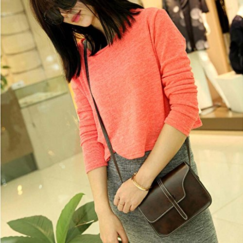 Cross Leisure Shoulder Handle Bag Bag Messenger Paymenow Shoulder Leather Body Coffee Crossbody Bag Little E8qCE