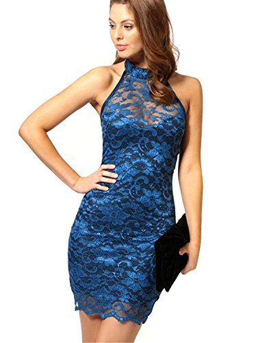 Cooped dresses Women's Sexy Polo Neck Floral Lace Cocktail Evening Mini Dress Party Clubwear (Blue)