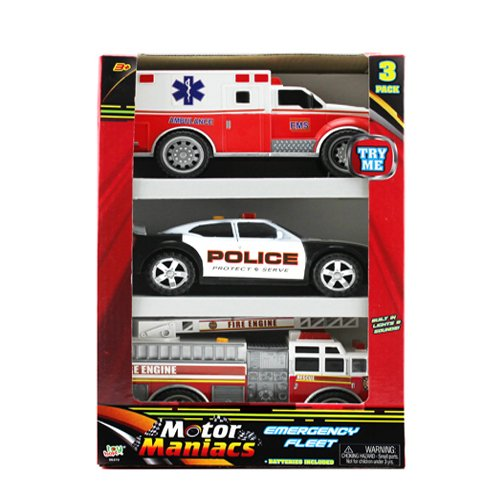 (OKK TOYS Hunson 3 in 1 Emergency Vehicles Toy Playset for Kids with Lights and Sounds | Fire Truck Police Car Ambulance |)