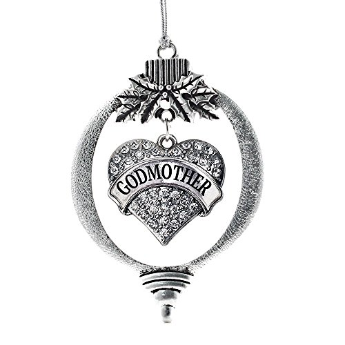 Heart Godmother (Inspired Silver Godmother Pave Heart Holiday Christmas Tree Ornament With Crystal Rhinestones)