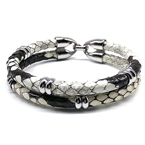 BeiChong 5mm Width White Gray Python Snake Leather Men Bracelet Bangle Fit Watch (White Gray)