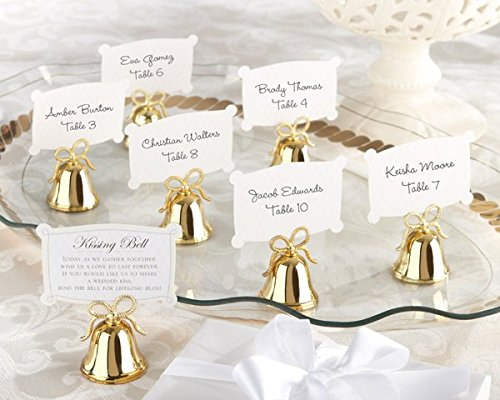 Gold Kissing Bells Place Card/Photo Holder (Set of 24) - 8 Sets in Total by Kateaspen