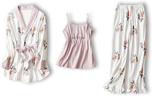 Pijamas Mujer Primavera Y Otoño Algodón Bata De Algodón Camisón De ...