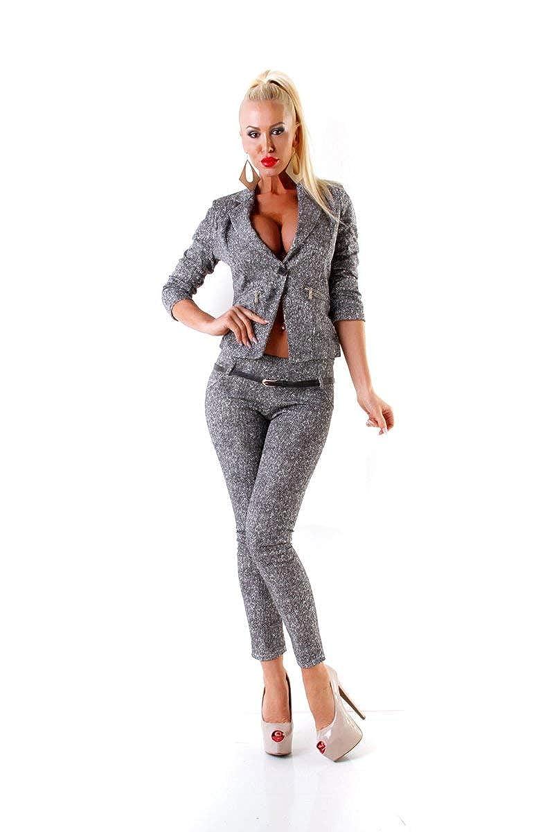OSAB-Fashion 24417 Damen Hosenanzug Hose und Blazer Business Anzug 2-teilig Grau