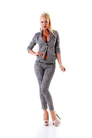 pretty nice 517fa a479a OSAB-Fashion 24417 Damen Hosenanzug Hose und Blazer Business Anzug 2-teilig  Grau