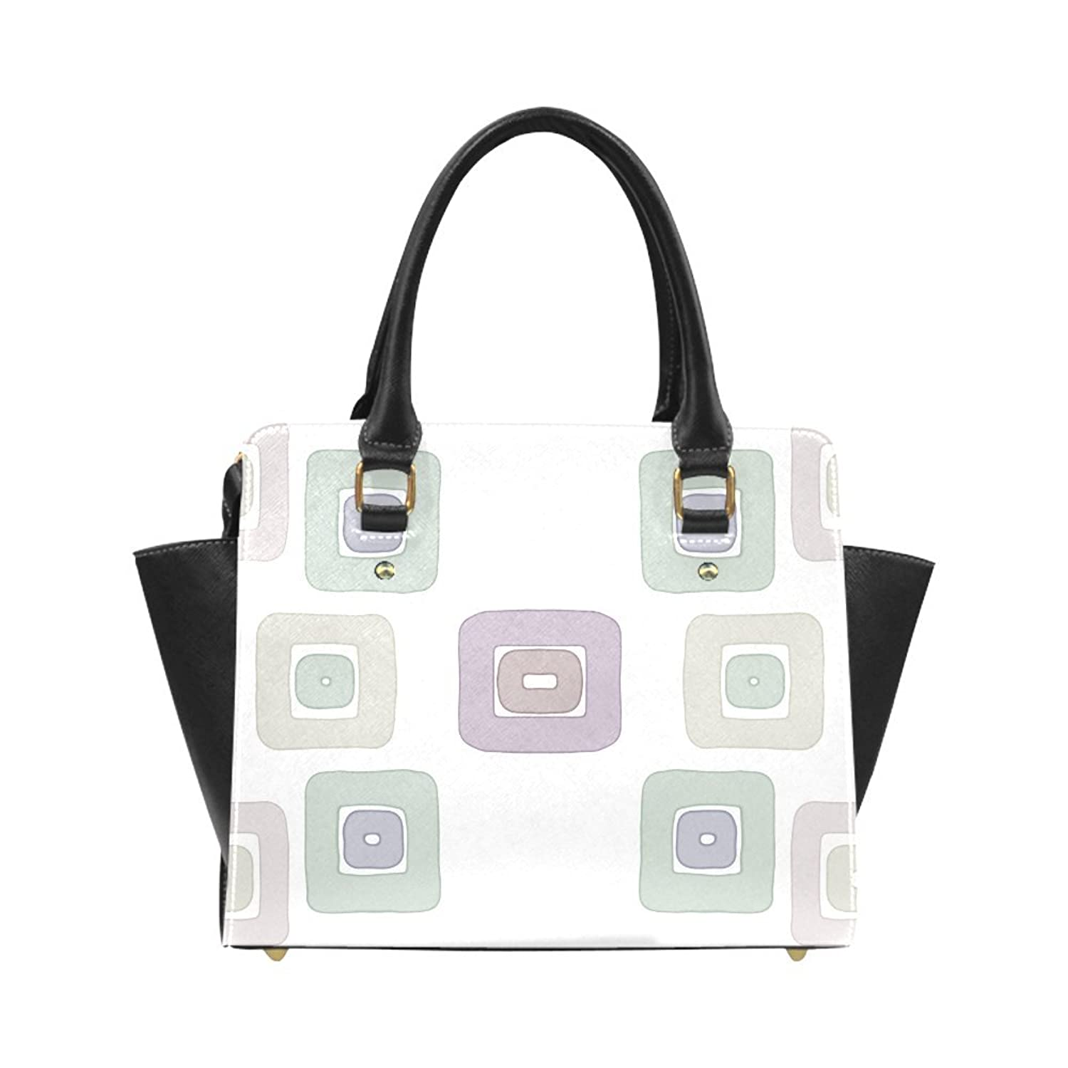 Interestprint Custom Green and Purple Squares Classic Women Top Handbag Shoulder Bag