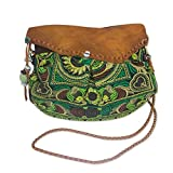 Leather Accent 'Green Mandarin Smile' Shoulder Bag (Thailand)