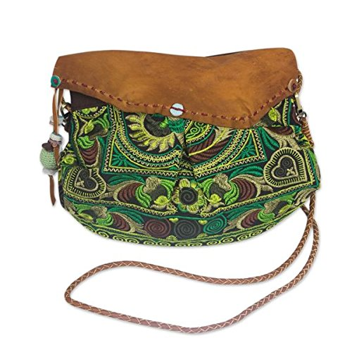 Leather Accent 'Green Mandarin Smile' Shoulder Bag (Thailand) by NOVICA