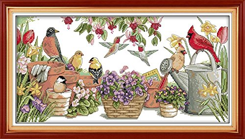 (CaptainCrafts Hots Cross Stitch Kits Patterns Embroidery Kit - Birds Gather In Garden (WHITE))