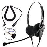 2.5 mm Economic Binaural Professional Customer Service Phone Headset built in Quick Disconnect compatible with Plantronics QD