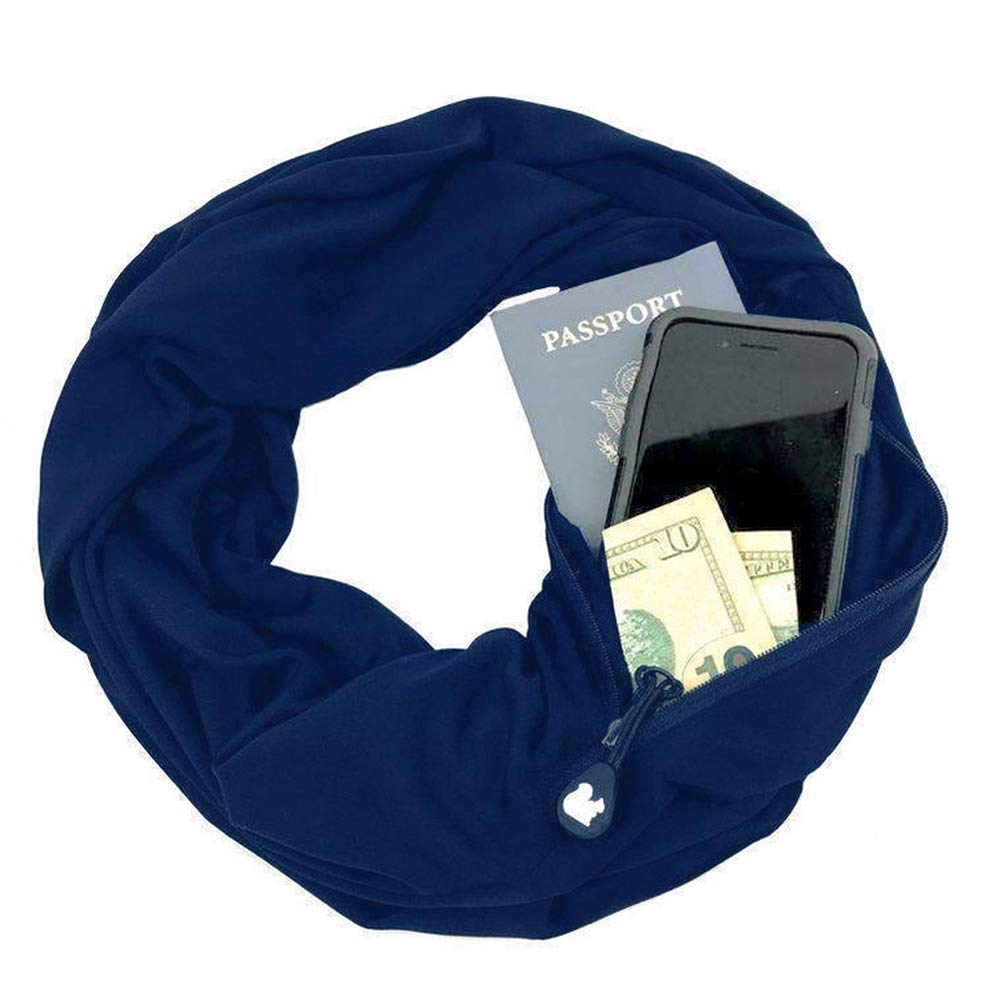 Zipper Pocketed Scarf,Infinity Scarf with Pocket,No Need Purse,Nursing Scarf (Navy)