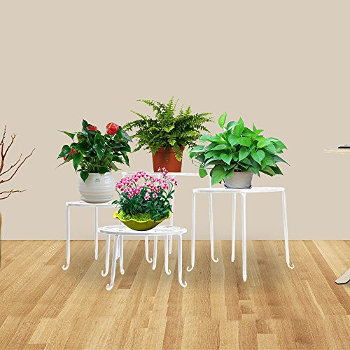 DoubleWin 4-Piece Metal Outdoor/Indoor Plant Stand Set, Round (White Stand Plant)