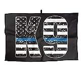 RUNNING BEAN Police K9 Thin Blue Line Adjustable Golf Towel Fashion Sports Towel Player Towel