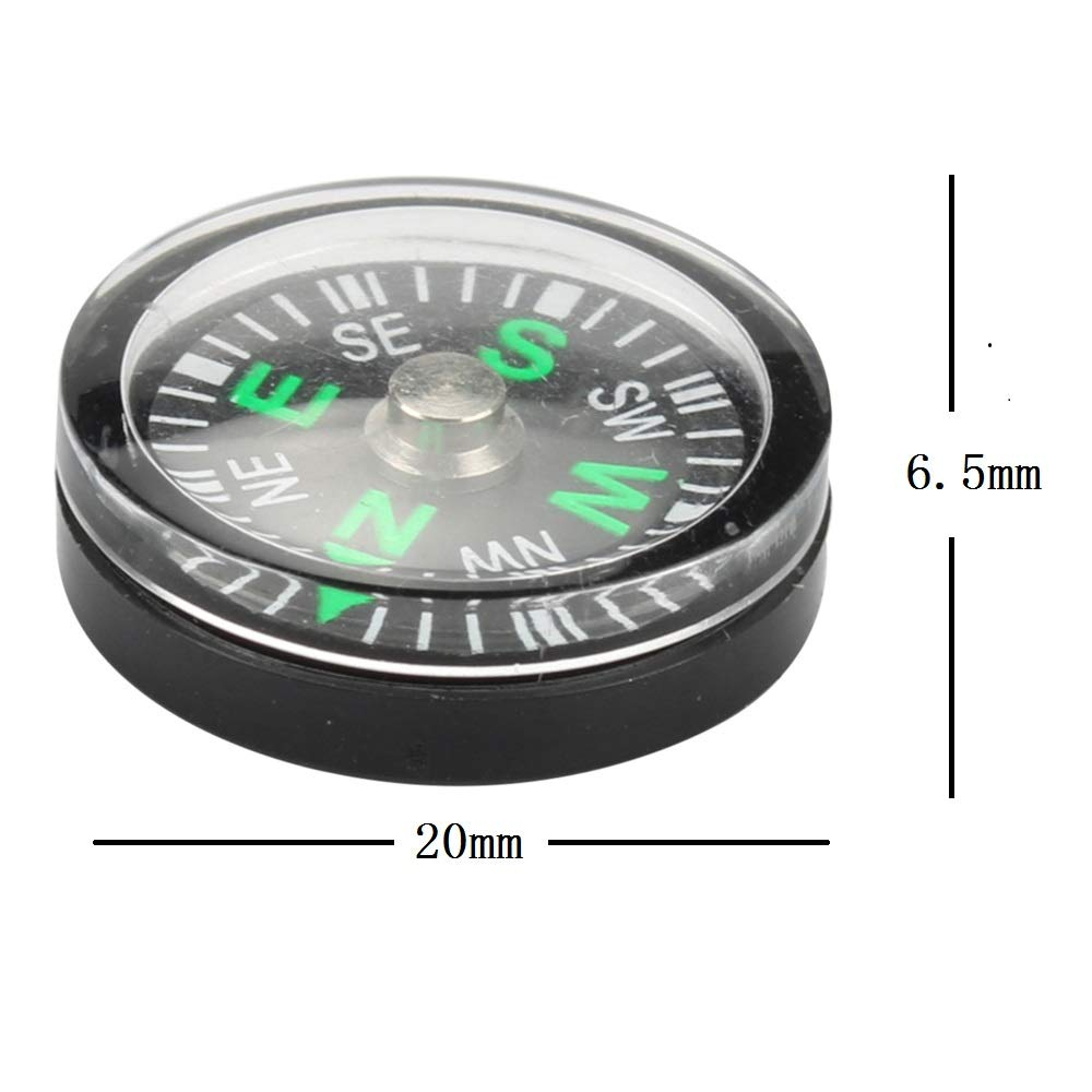 Mini Compass for Hiking Compass for Kids 20mm Button Compass Black Survival Compass Paracord Compass