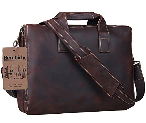 Leather Briefcase,Berchirly Men's Premium Retro Laptop Messenger Bag Carrying Handbag Tote for Men Fits 15.4 Inch Laptop w/ Soft Leather Shoulder Strap