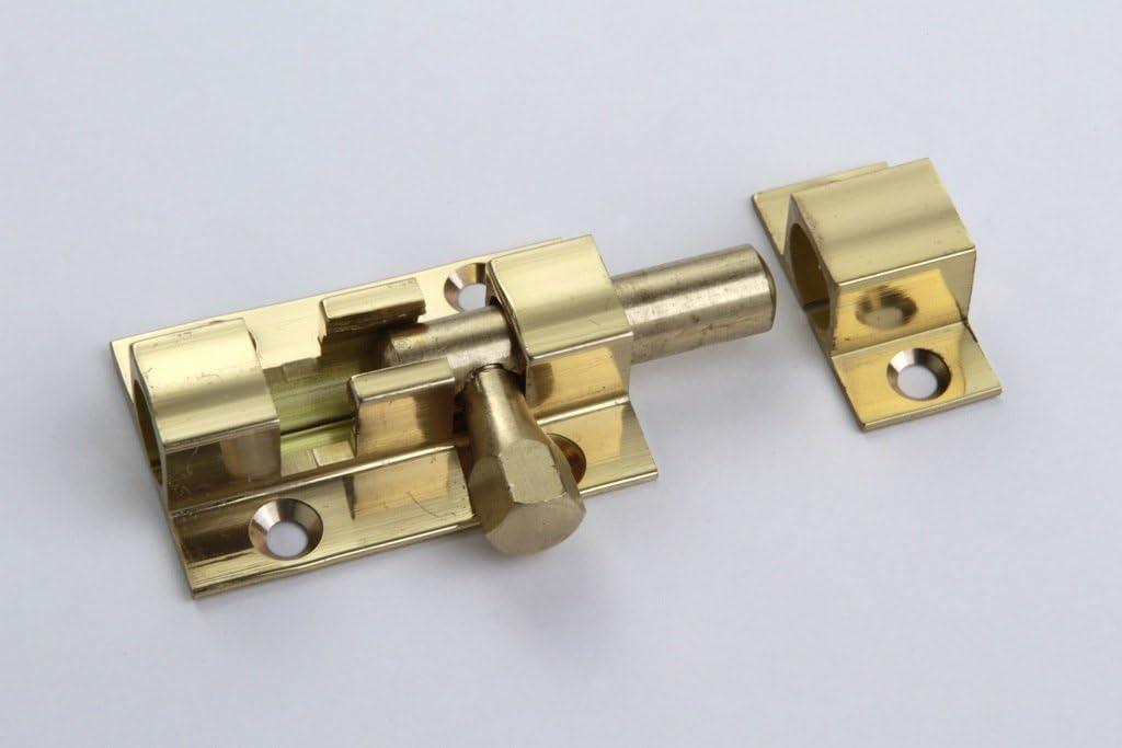 1 M/öbelriegel T/ürriegel Schrankverschluss Grendelriegel Schieber und Anschlag Metall vermessingt 25 x 40mm